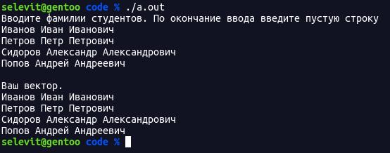 Работа с векторами в C++. Пример программы.
